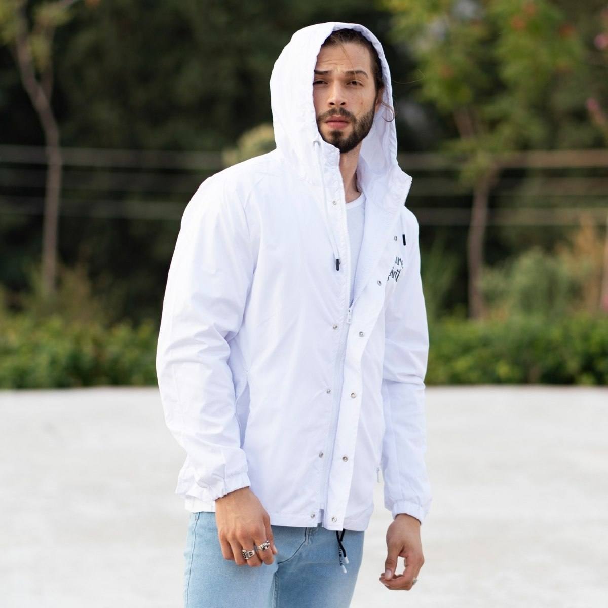 MV Autumn Collection Rainproof Hoodie with Details in White MV Jacket Collection - 2