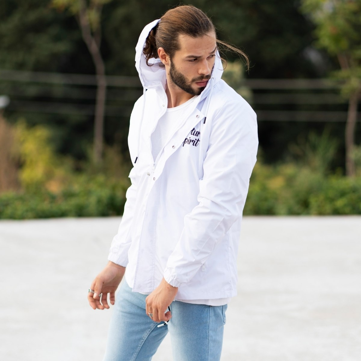 MV Autumn Collection Rainproof Hoodie with Details in White MV Jacket Collection - 4