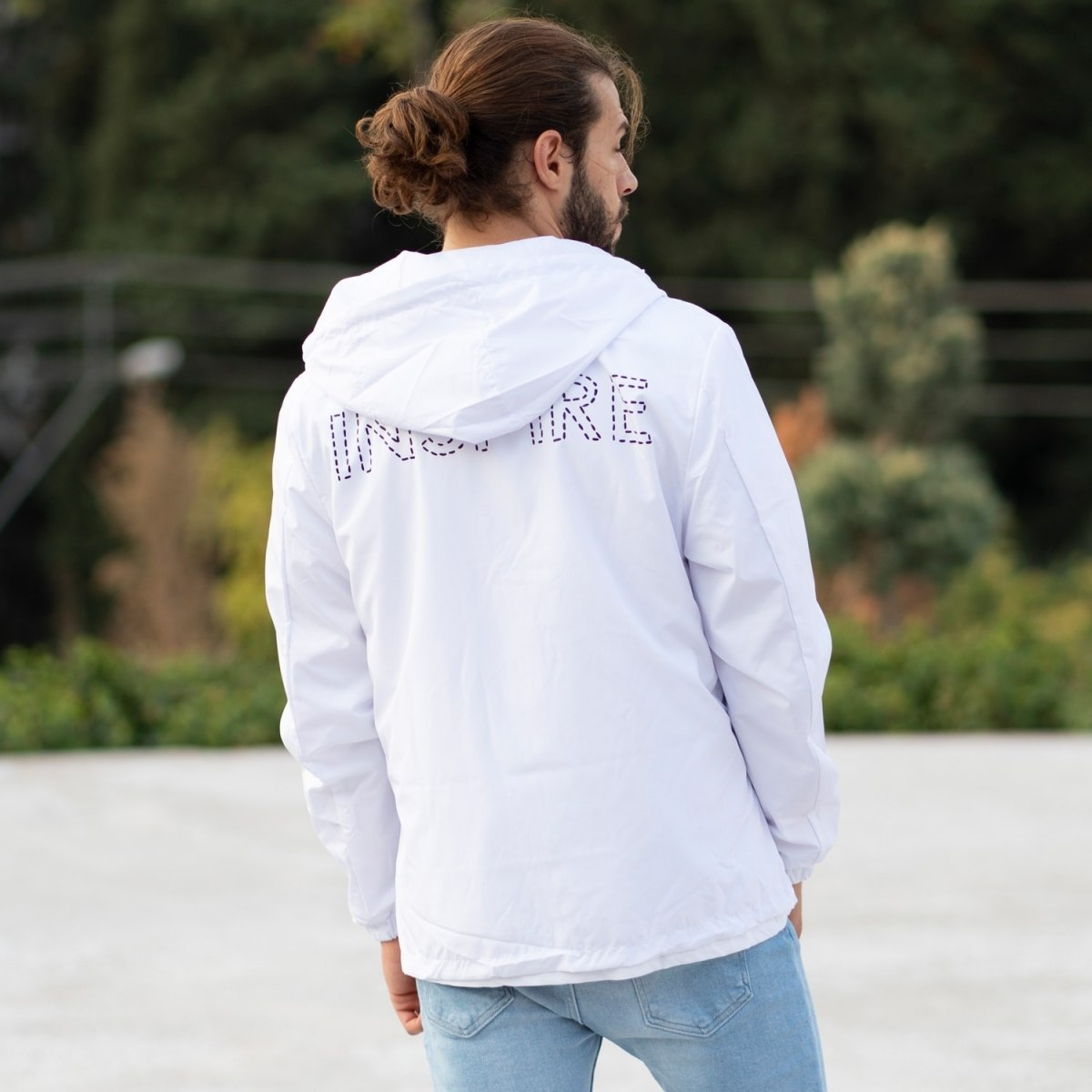 MV Autumn Collection Rainproof Hoodie with Details in White MV Jacket Collection - 5