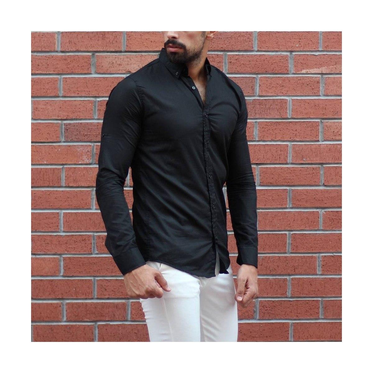 Men's Stylish Basic Shirt In Black MV Shirt Collection - 1