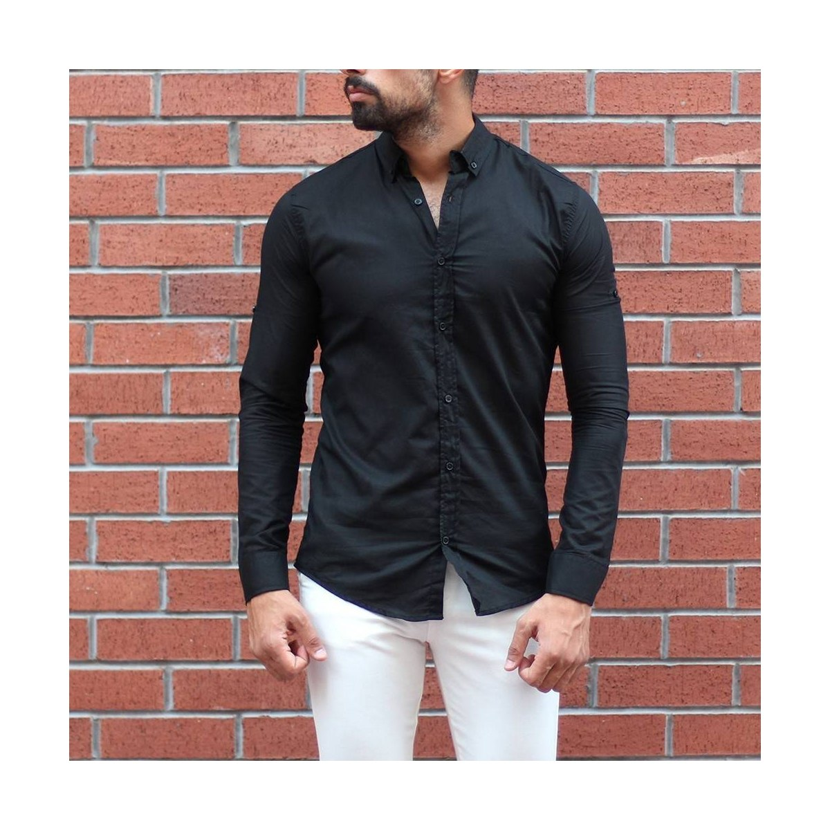 Men's Stylish Basic Shirt In Black