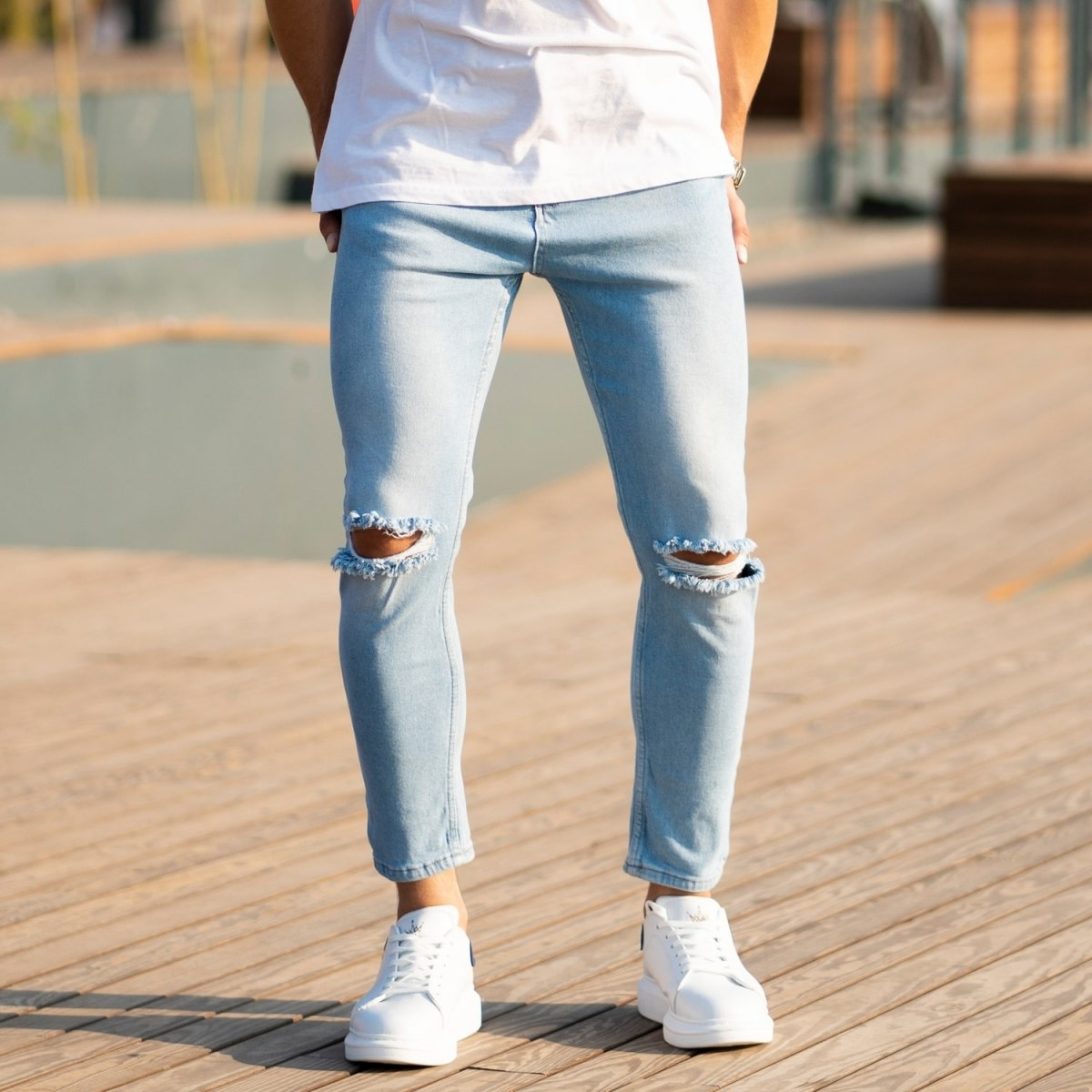 Men's Light-Blue Jeans With Rips Mv Premium Brand - 1