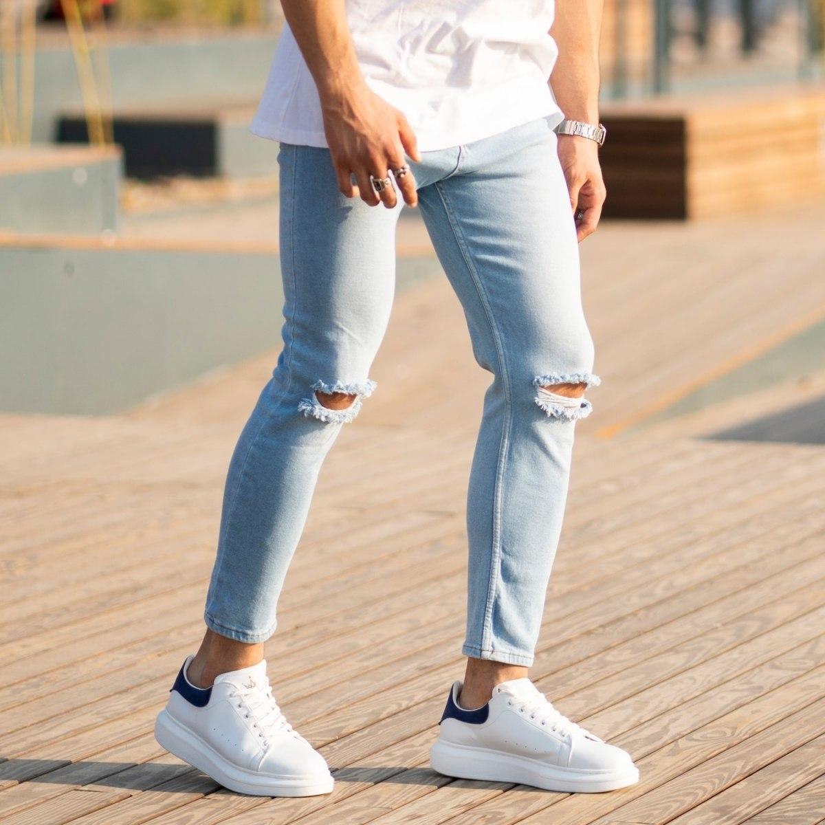 Men's Light-Blue Jeans With Rips Mv Premium Brand - 2