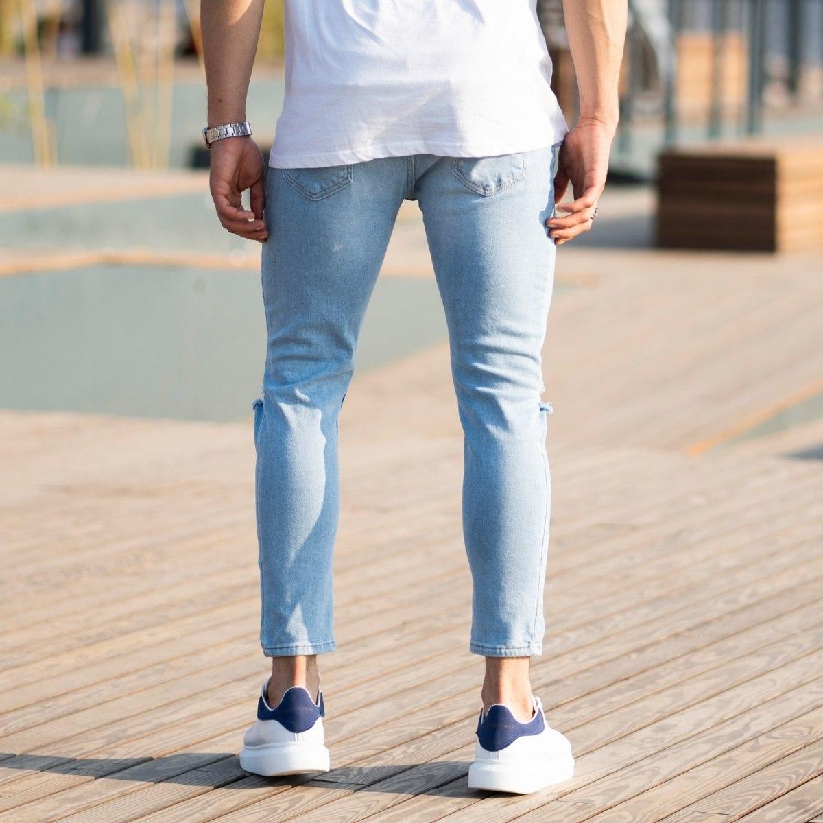 Men's Light-Blue Jeans With Rips Mv Premium Brand - 3