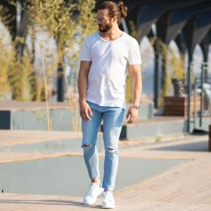 Men's Light-Blue Jeans With Rips Mv Premium Brand - 4