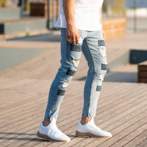 Men's Jeans With Fonts and Ribs Mv Premium Brand - 2