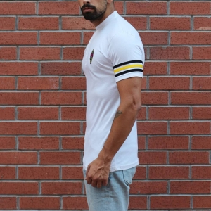 Men's Button Neck Slim Fit T-Shirt With Colored Arm White MV T-shirt Collection - 2