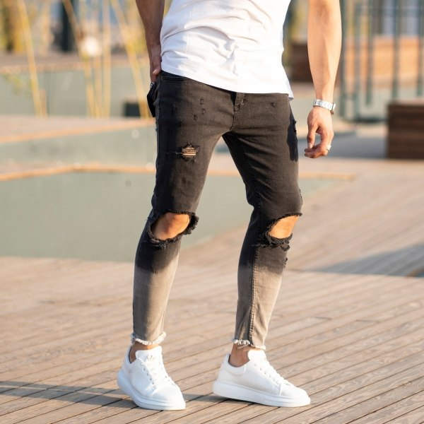 Men's Smoked-Gray Ripped Jeans