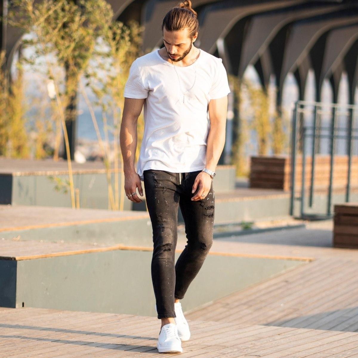 Men's Futuristic details Jeans In Black Mv Premium Brand - 3