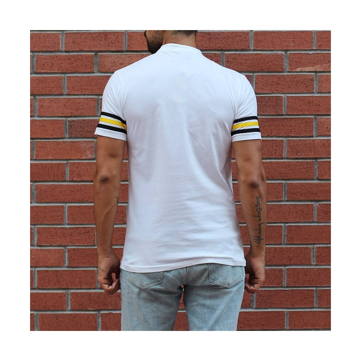 Men's Button Neck Slim Fit T-Shirt With Colored Arm White MV T-shirt Collection - 3
