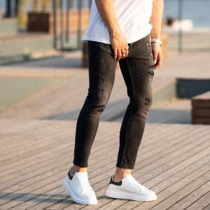 Men's Futuristic details Jeans In Black Mv Premium Brand - 2
