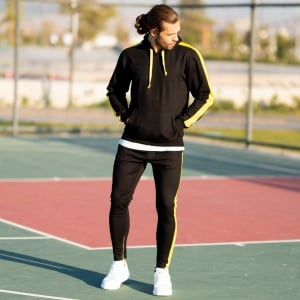 Men's Yellow-Stripped Black Tracksuit Mv Premium Brand - 2