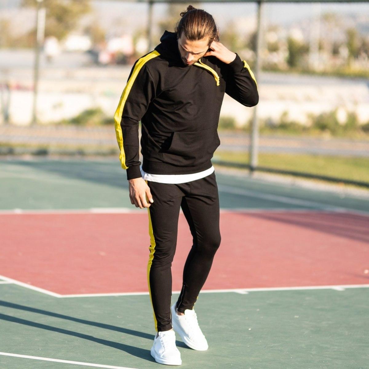 Men's Yellow-Stripped Black Tracksuit Mv Premium Brand - 3