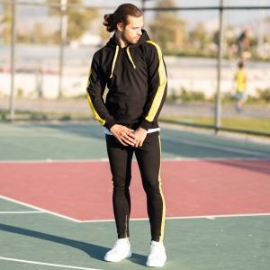 Men's Yellow-Stripped Black Tracksuit Mv Premium Brand - 4