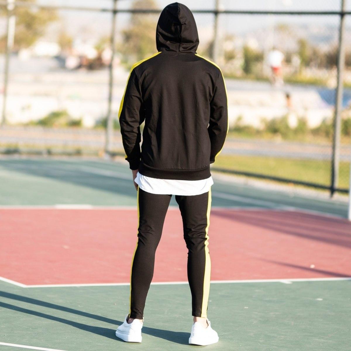Men's Yellow-Stripped Black Tracksuit Mv Premium Brand - 5