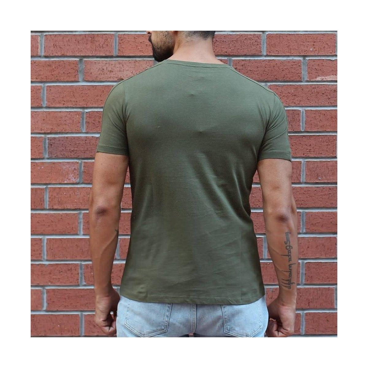 Men's Round Neck Stylish Basic T-Shirt Khaki MV T-shirt Collection - 1