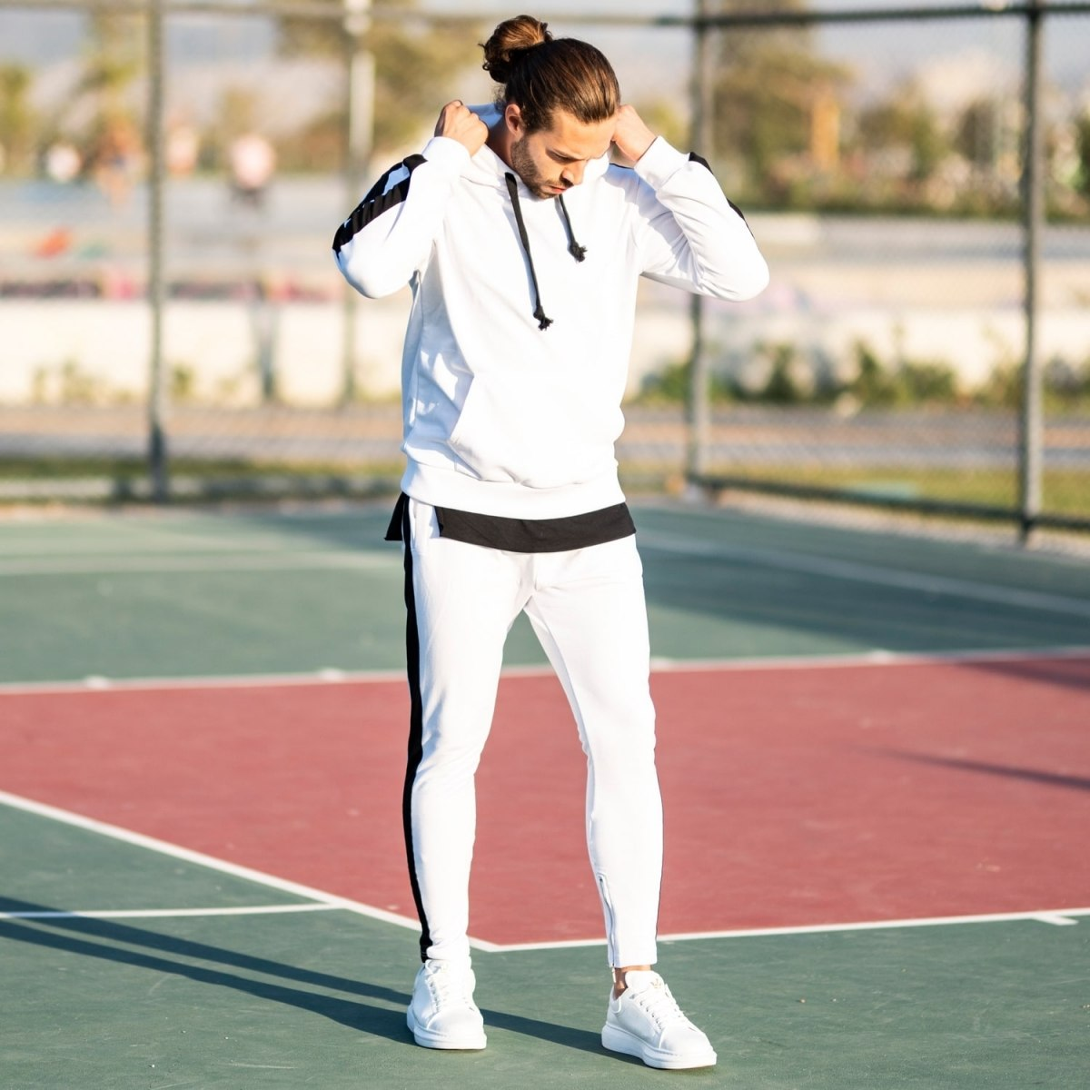 Men's Black-Stripped White Tracksuit Mv Premium Brand - 1