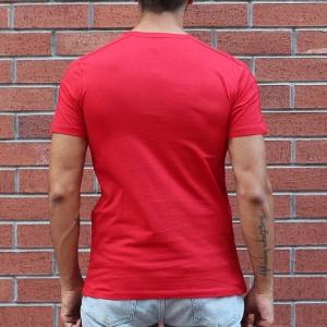 Men's Round Neck Stylish Basic T-Shirt Red MV T-shirt Collection - 1