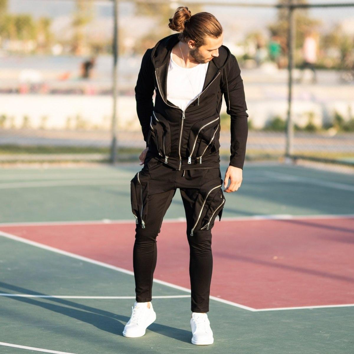 Men's Black Zipped Sweatsuit Mv Premium Brand - 1