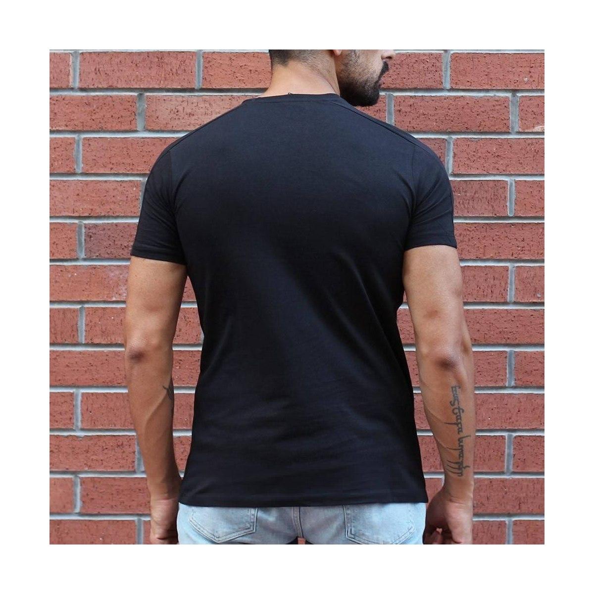 Men's Round Neck Stylish Basic T-Shirt Black Mv Premium Brand - 1