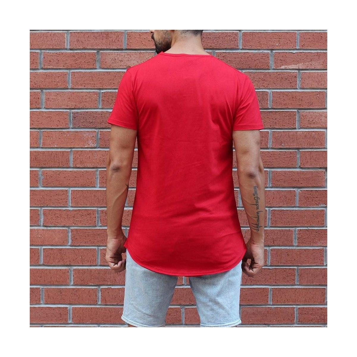 Men's Button Round Neck Oversized T-Shirt Red MV Brand - 2