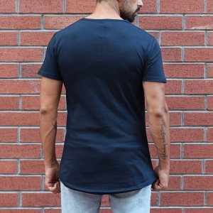 Men's Button Round Neck Oversized T-Shirt Navy MV Brand - 1