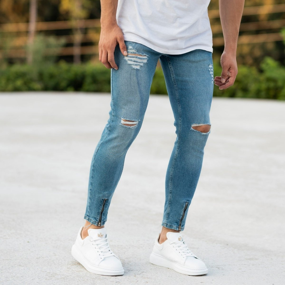 Men's Blue Ripped&Zipped Jeans