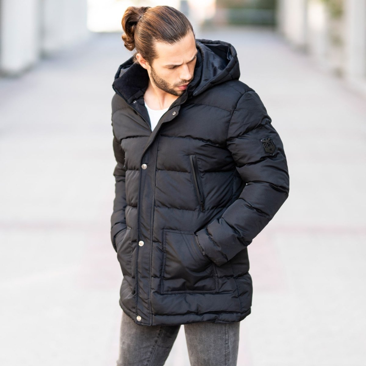 Windproof Puff Jacket In Black MV Jacket Collection - 1