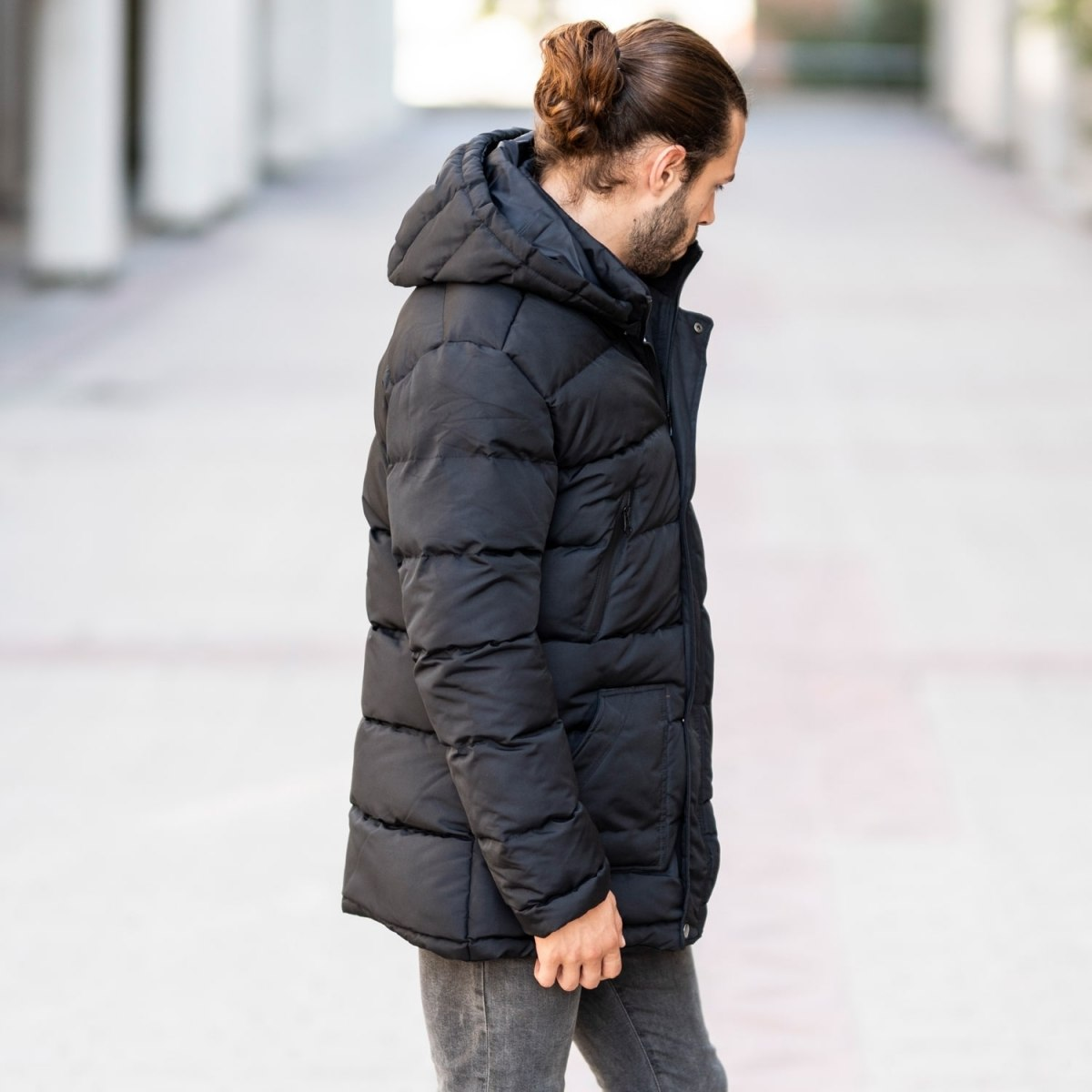 Windproof Puff Jacket In Black MV Jacket Collection - 3