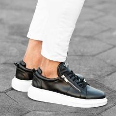 Herren Hype Sole Sneakers mit hoher Sohle und Reißverschlüssen in schwarz-weiß Mv Premium Brand - 1