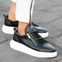 Hype Sole Zipped Style Sneakers in Black-White Mv Premium Brand - 2
