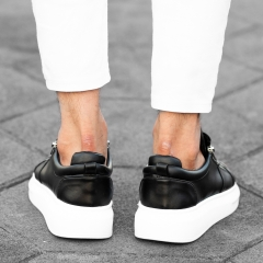 Hype Sole Zipped Style Sneakers in Black-White Mv Premium Brand - 3