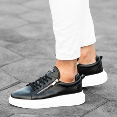 Hype Sole Zipped Style Sneakers in Black-White Mv Premium Brand - 4