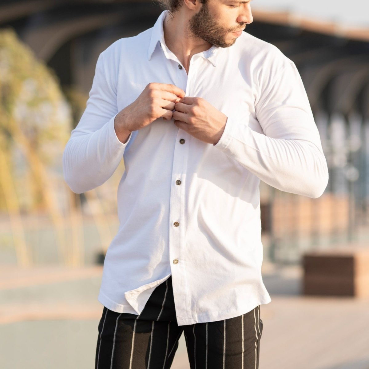 Men's Long Sleeve New Style Shirt In White Mv Premium Brand - 1