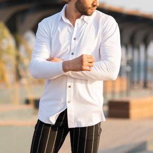 Men's Long Sleeve New Style Shirt In White Mv Premium Brand - 2