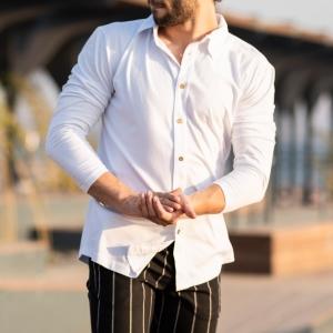 Men's Long Sleeve New Style Shirt In White Mv Premium Brand - 4