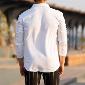 Men's Long Sleeve New Style Shirt In White Mv Premium Brand - 5