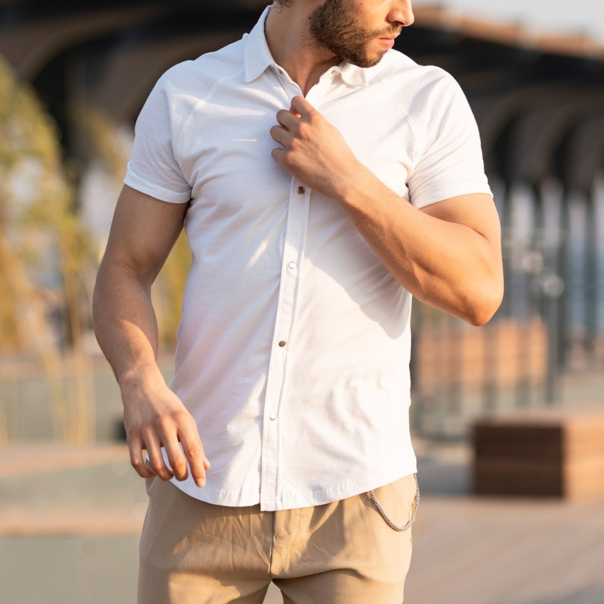 Men's Short Sleeve New Style Shirt In White Mv Premium Brand - 1