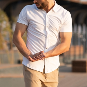 Men's Short Sleeve New Style Shirt In White Mv Premium Brand - 2