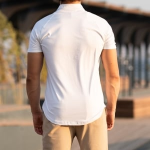 Men's Short Sleeve New Style Shirt In White Mv Premium Brand - 4