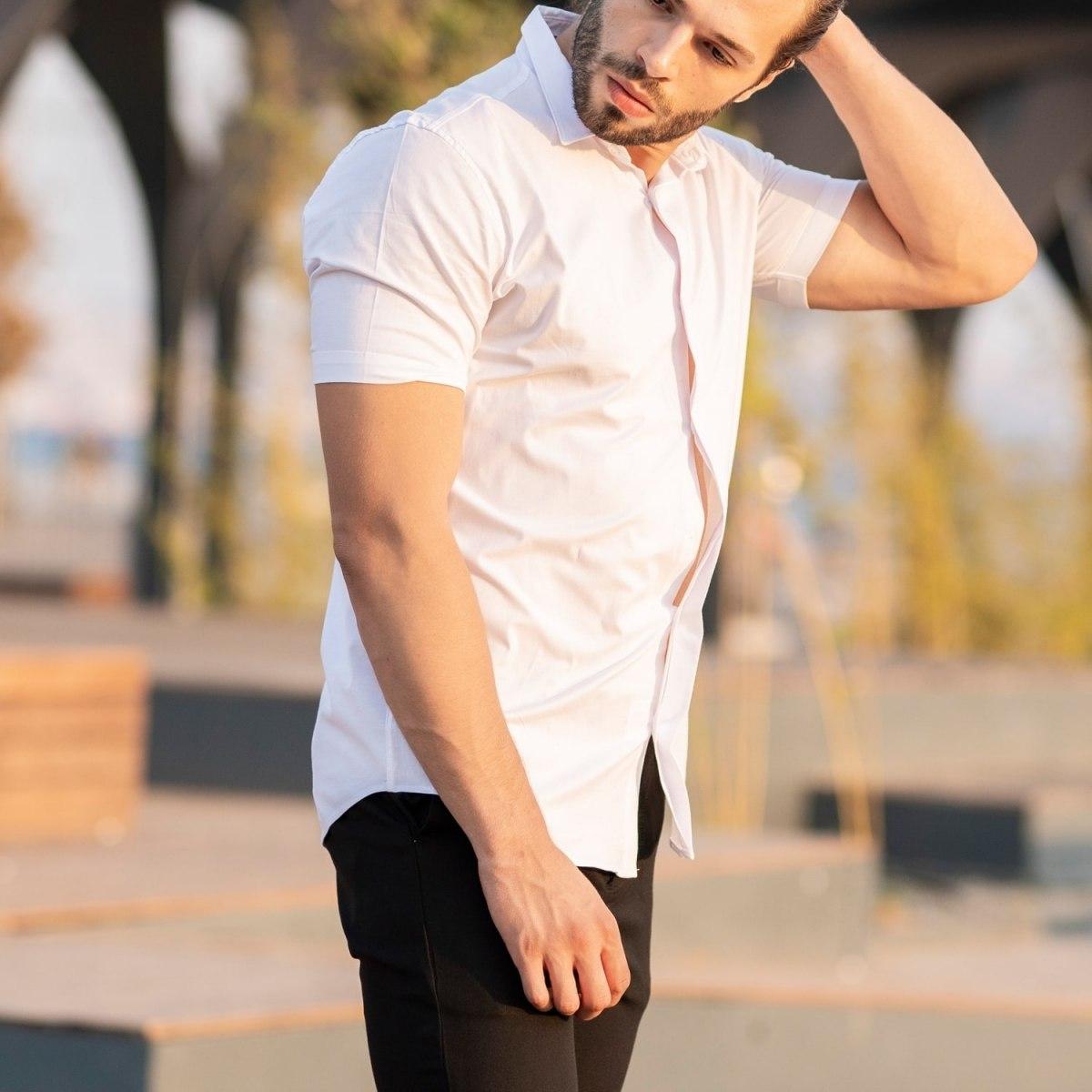 Men's Short Sleeve Style Shirt In White Mv Premium Brand - 1