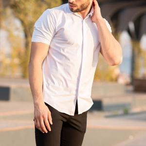 Men's Short Sleeve Style Shirt In White Mv Premium Brand - 2