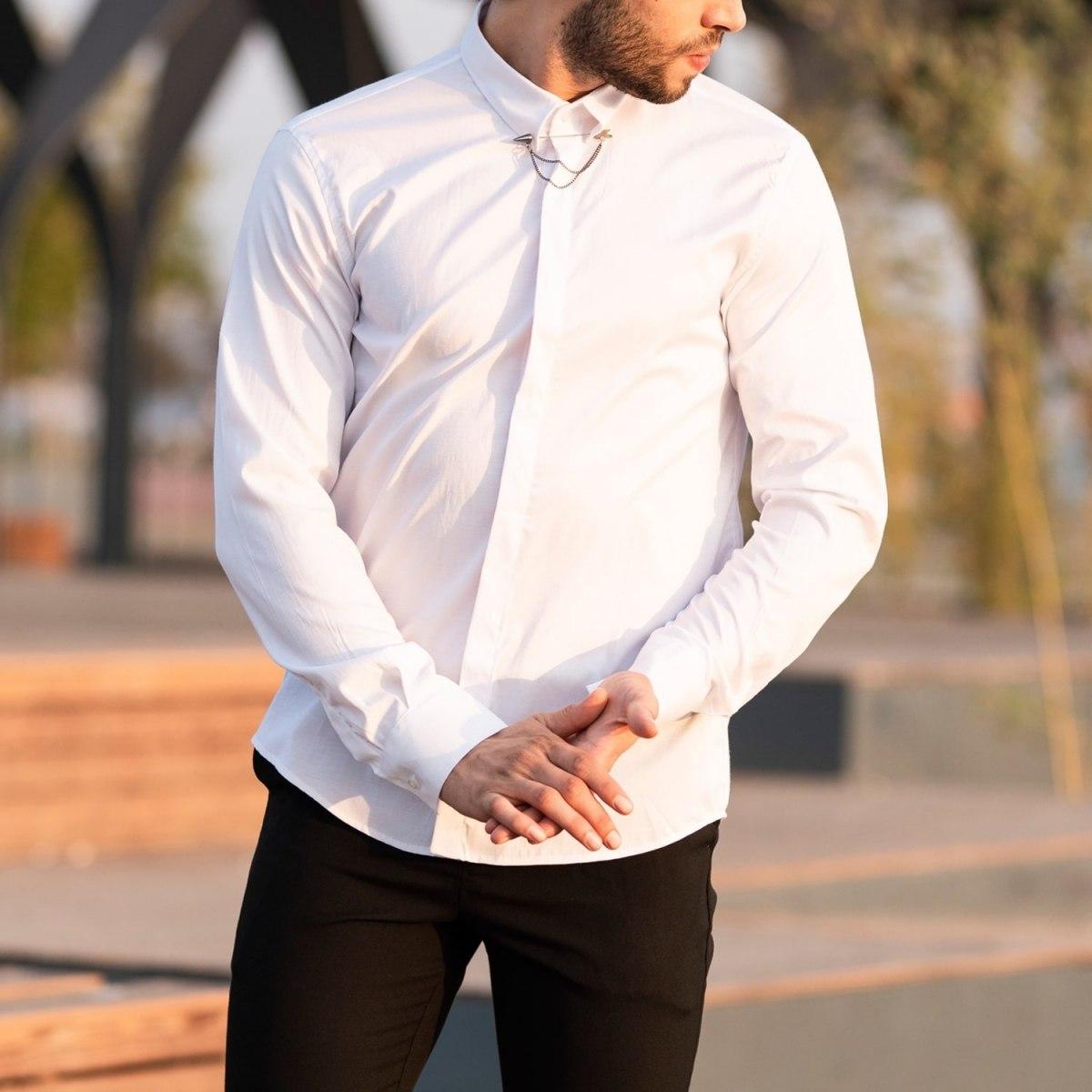 Men's Long Sleeve Shirt With Lapel Pin In White Mv Premium Brand - 1