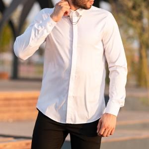 Men's Long Sleeve Shirt With Lapel Pin In White Mv Premium Brand - 2