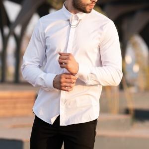 Men's Long Sleeve Shirt With Lapel Pin In White Mv Premium Brand - 5