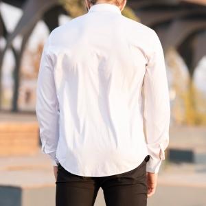 Men's Long Sleeve Shirt With Lapel Pin In White Mv Premium Brand - 6