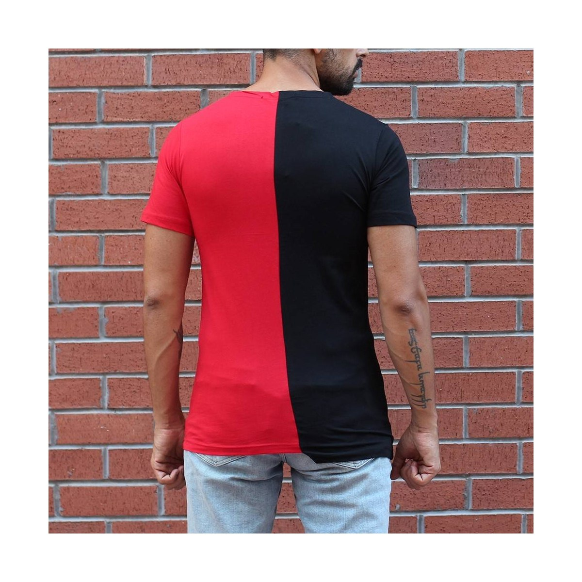 Men's Round Neck Split Color T-Shirt Black&Red MV Brand - 1