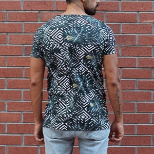 Men's Crew Neck Leaf Pattern T-Shirt MV Brand - 1
