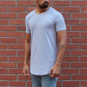 Men's Round Neck Slim Fit T-Shirt In Gray MV Brand - 1