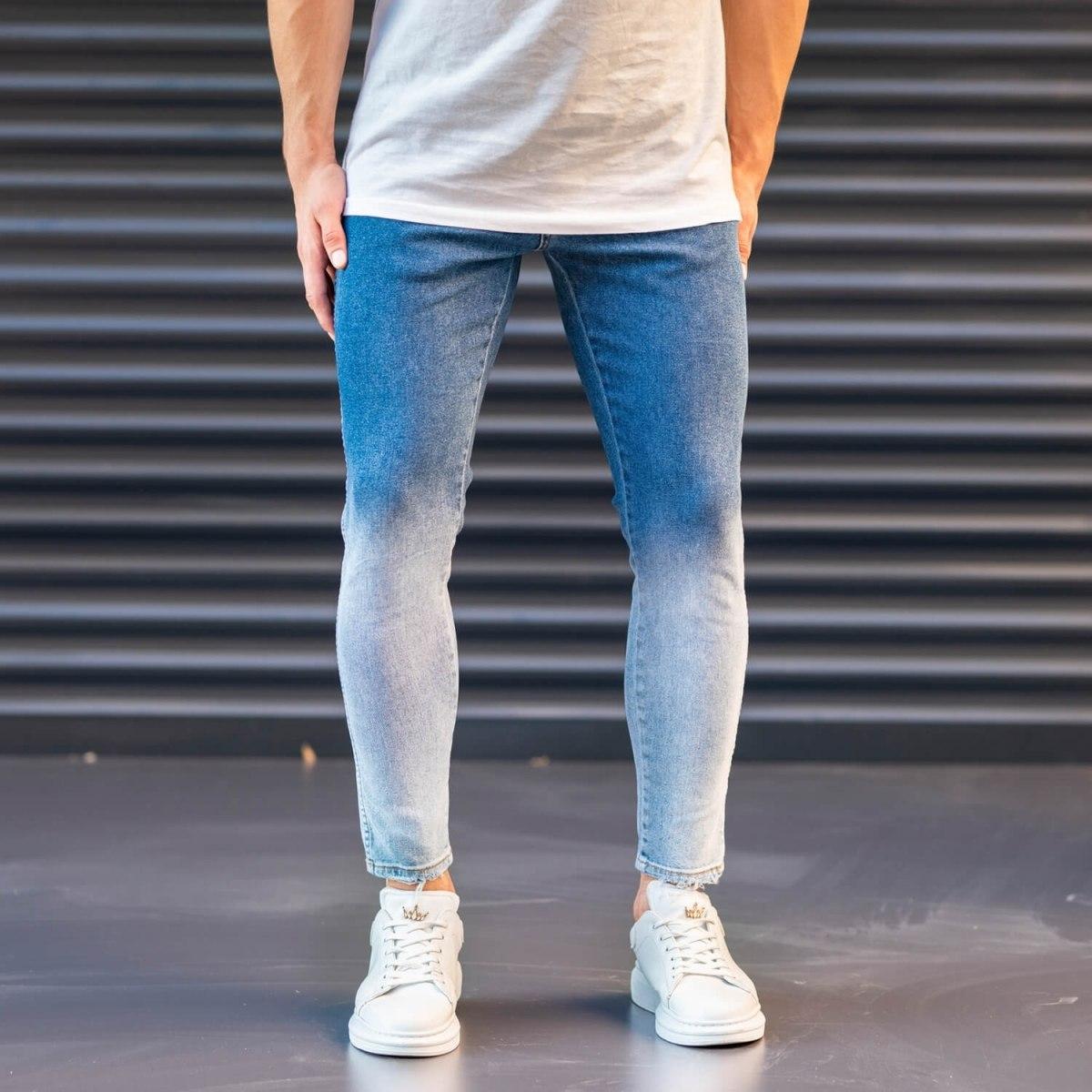 Men's Jeans In Denim&Powder Style Mv Premium Brand - 1